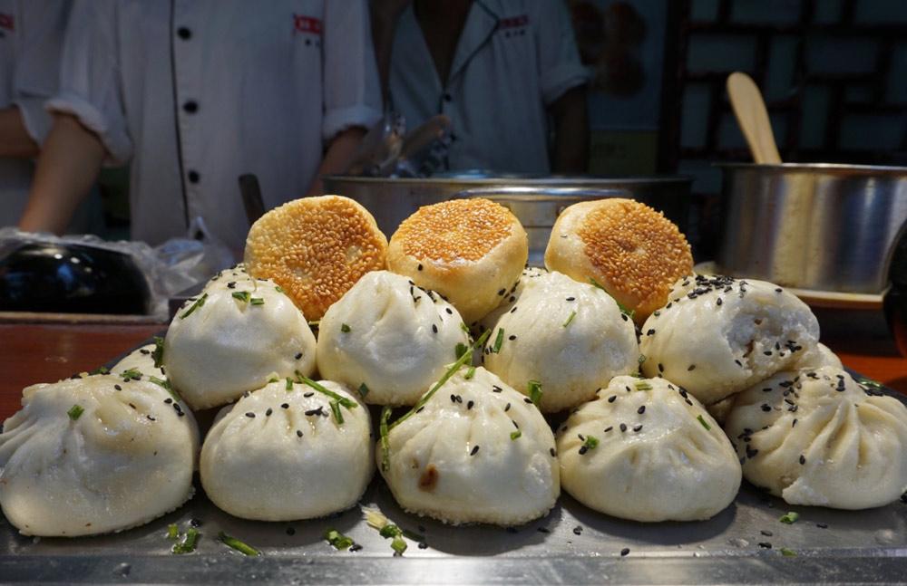 Fried dumplings in Shanghai