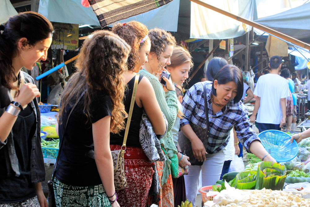 Exploring a local market in Bangkok during a semester study abroad program