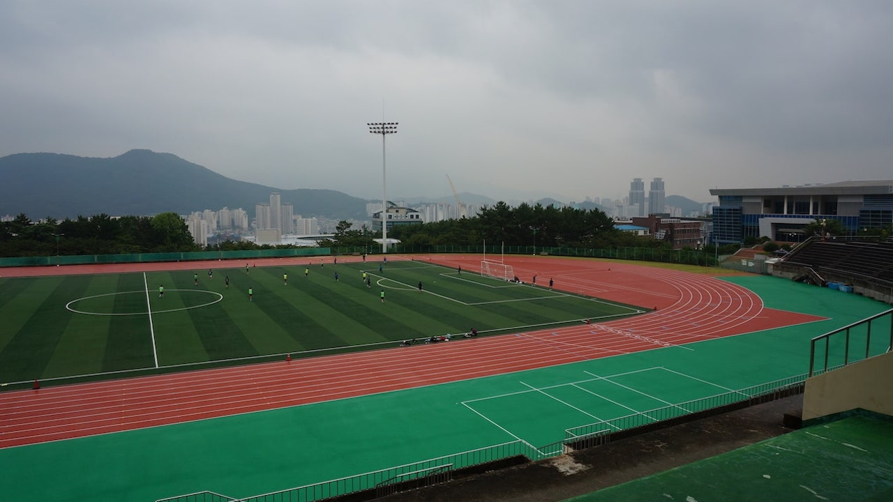 Athletic field on Pusan National University campus in Busan